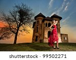 lady in red and castle | Shutterstock . vector #99502271