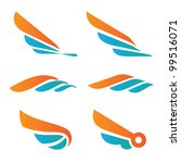 wings of a bird. set of symbols. | Shutterstock .eps vector #99516071