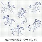 jockey riding a horse. set.... | Shutterstock .eps vector #99541751