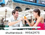 cafe couple drinking talking... | Shutterstock . vector #99542975