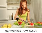 attractive woman preparing food ... | Shutterstock . vector #99556691
