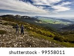 two boys enjoy the mountain and ... | Shutterstock . vector #99558011