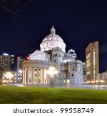 The First Church of Christ, Scientist in Back Bay of Boston, Massachusetts is headquarters of the Christian Science Church. - stock photo