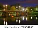 Lagoon Bridge at the Boston Public Gardens in Boston, Massachusetts. - stock photo