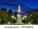 George Washington Equestrian Statue at Public Garden in Boston, Massachusetts. - stock photo