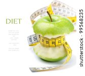 green apple core and measuring... | Shutterstock . vector #99568235