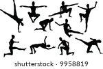 martial art silouettes | Shutterstock .eps vector #9958819