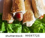 hot dogs with salad for... | Shutterstock . vector #99597725