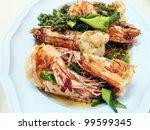 spicy fried shrimp | Shutterstock . vector #99599345