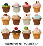 set of delicious cupcakes with... | Shutterstock .eps vector #99606527