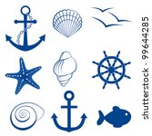 sea icon set  anchor  shell ... | Shutterstock .eps vector #99644285