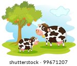 illustration of 2 cows in... | Shutterstock .eps vector #99671207