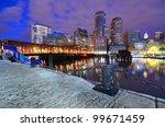 Boston, Massachusetts viewed from Boston Harbor. - stock photo