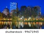 Skyline of Boston, Massachusetts from Boston Public Garden. - stock photo