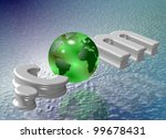 earth globe replacing letter o within dot com word / web address - stock photo