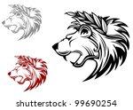angry heraldic lion with laurel ... | Shutterstock . vector #99690254