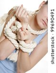 young woman tied up with rope...   Shutterstock . vector #99690491
