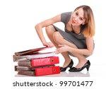 woman overworked businesswoman...   Shutterstock . vector #99701477