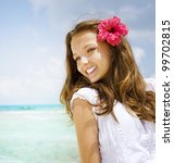 Beautiful Girl In Tropical...