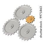the 3d gold gear  rotating... | Shutterstock . vector #9971863