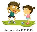 older brother teasing his sister | Shutterstock .eps vector #99724595