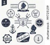 Set Of Vintage Retro Nautical...