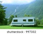 modern caravan standing at the... | Shutterstock . vector #997332