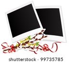 photo frames with twigs of... | Shutterstock .eps vector #99735785