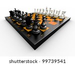chess pieces on a board on a... | Shutterstock . vector #99739541
