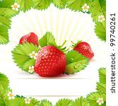 strawberry with frame of leafs | Shutterstock .eps vector #99740261