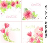 set of 4 romantic flower... | Shutterstock .eps vector #99754025