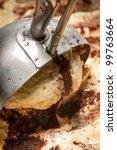 metallic spoon with water drops ... | Shutterstock . vector #99763664