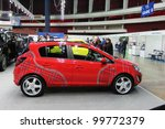 "Small photo of ST. PETERSBURG, RUSSIA - APRIL, 5: Opel Corsa with aerography picture is on display at ""Automobile world-2012 "" annual car exhibition on April, 5, 2012 in St.Petersburg, Russia."