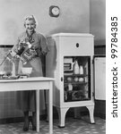 woman with refrigerator and... | Shutterstock . vector #99784385