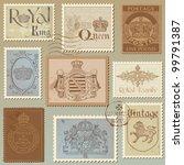 set of vintage royalty stamps   ... | Shutterstock .eps vector #99791387