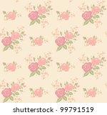 seamless vintage rose pattern | Shutterstock .eps vector #99791519