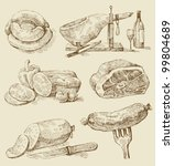 meat collages | Shutterstock .eps vector #99804689