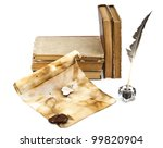 old books and pen on a white... | Shutterstock . vector #99820904