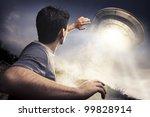 man running away from a ufo | Shutterstock . vector #99828914