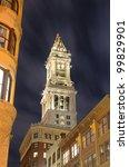 The historic Custom House Tower built 1915 in Boston, Massachusetts. - stock photo