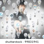 businessman press lightbulb | Shutterstock . vector #99831941