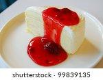 crepe cake strawberry - stock photo