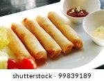 Deep fried spring rolls - stock photo