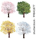 illustration with four seasons... | Shutterstock .eps vector #99841877