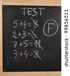 Math Test On The Blackboard  ...