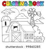 coloring book farm theme 1  ... | Shutterstock .eps vector #99860285