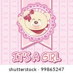 baby girl shower card with cute ... | Shutterstock .eps vector #99865247