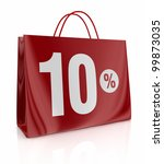 one shopping bag with the number ten and the percent symbol (3d render) - stock photo