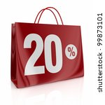 one shopping bag with the number twenty and the percent symbol (3d render) - stock photo