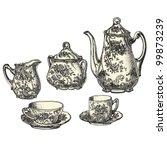 tea pot    vintage engraved... | Shutterstock .eps vector #99873239